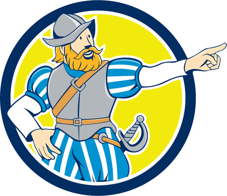 Ilustración de Illustration of a spanish conquistador pointing looking to side set inside circle on isolated background done in cartoon style. - Imagen libre de derechos