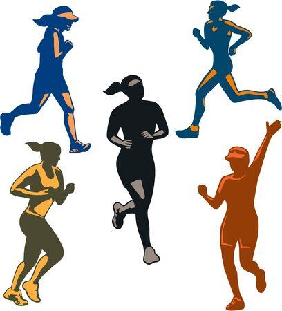 Ilustración de Illustration of set or collection of female marathon triathlete runner running winning finishing race on isolated background done in retro style. - Imagen libre de derechos