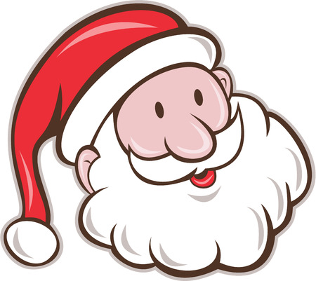 Illustration pour Illustration of santa claus saint nicholas father christmas head smiling set on isolated white background done in cartoon style. - image libre de droit