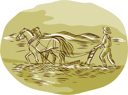 Illustration pour Etching engraving handmade style illustration of farmer and horses plowing field viewed from side set inside oval shape with mountains in the background. - image libre de droit