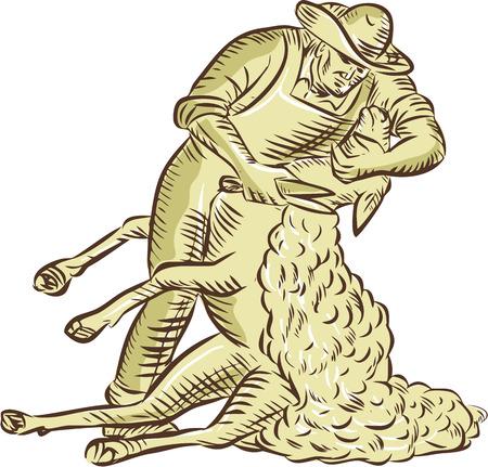 Ilustración de illustration of a farmworker - Imagen libre de derechos