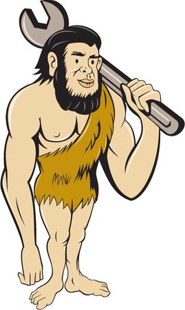 Ilustración de Illustration of a neanderthal man or caveman standing carrying spanner on shoulder set on isolated white background done in cartoon style. - Imagen libre de derechos