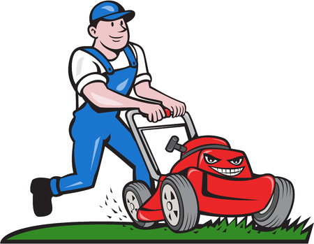 Illustration pour Illustration of a gardener wearing hat and overalls with lawnmower mowing lawn viewed from front set on isolated white background done in cartoon style. - image libre de droit