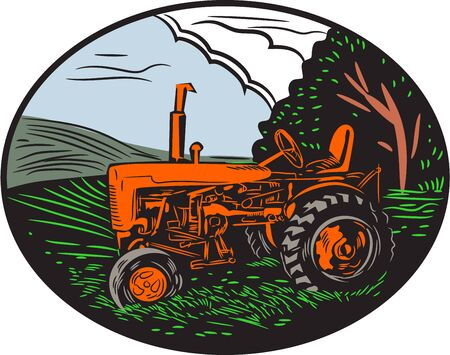 Illustration pour Illustration of a vintage tractor with farm grass tree sky clouds in the background set inside oval shape done in retro woodcut style. - image libre de droit