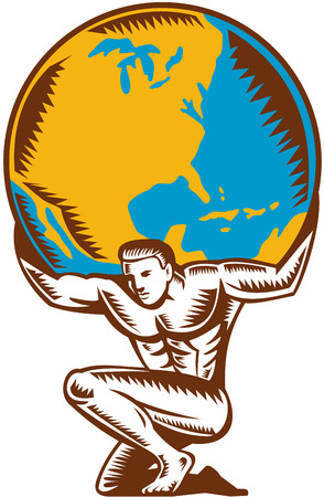 Illustration for Illustration of Atlas kneeling carrying lifting globe world earth on his back set on isolated white background done in retro woodcut style. - Royalty Free Image