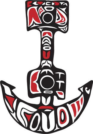 Illustration pour Northwest Coast art style illustration of a boat anchor set on isolated white background. - image libre de droit