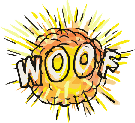 Ilustración de Illustration of an explosion and the word text WOOF set on isolated white background done in cartoon style. - Imagen libre de derechos