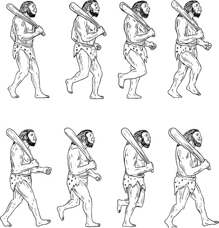 Illustration pour Collection set of illustrations of a neanderthal man or caveman holding a club on shoulder walking showing a walk cycle viewed from the side. - image libre de droit