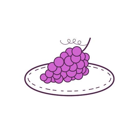 Ilustración de Mono line style illustration of a bunch of grapes on a plate set on isolated white background. - Imagen libre de derechos