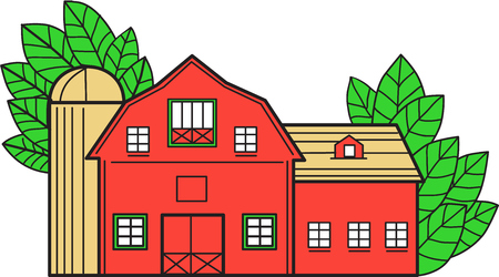 Ilustración de Mono line style illustration of a vintage american barn with leaves in the background set on isolated white background. - Imagen libre de derechos