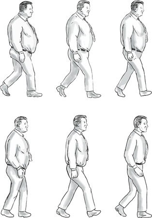 Illustration pour Collection set of illustration of an obese man morphing into a fit man viewed from the side set on isolated white background done in drawing sketch style. - image libre de droit