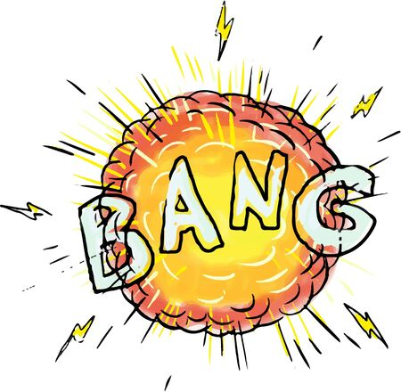 Ilustración de Illustration of an explosion and the word text bang set on isolated white background done in cartoon style. - Imagen libre de derechos