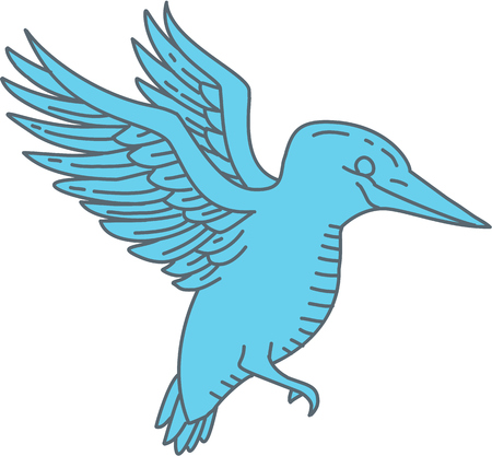 Ilustración de Mono line style illustration of a kingfisher bird flying viewed from the side set on isolated white background.   - Imagen libre de derechos