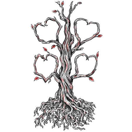 Photo pour Tattoo style illustration of a Twisted Oak Tree without leaves and Branch forming into Heart and roots done in hand sketch drawing Tattoo. - image libre de droit