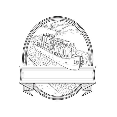 Ilustración de Illustration of Gin Bottles riding on a Barge River boat traveling on creek stream set inside Oval done in black and white  Line Drawing style. - Imagen libre de derechos