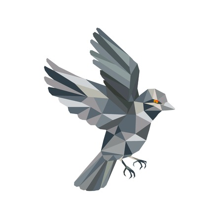 Ilustración de Illustration of an Old World Sparrow flying set on isolated background done in Low Polygon style. - Imagen libre de derechos