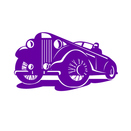 Illustration for Retro style illustration of a vintage coupe viewed from a low angle on isolated white background. - Royalty Free Image