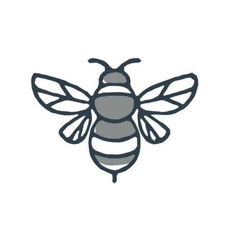 Ilustración de Mono line icon style illustration of a bumblebee or bumble bee, a member of the genus Bombus, part of Apidae on isolated white background. - Imagen libre de derechos