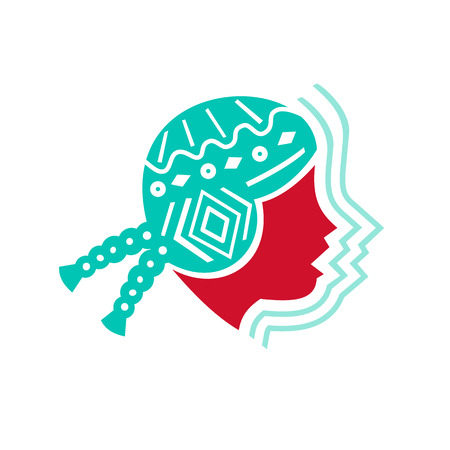 Ilustración de Icon style illustration of Peruvian Girl wearing Hat viewed from Side with echo sound volume sign on isolated background - Imagen libre de derechos