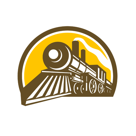 Illustration pour Icon style illustration of a Steam Locomotive railway Train viewed from a low angle set inside Circle on isolated background. - image libre de droit