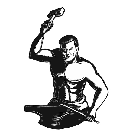 Illustration pour Scratchboard style illustration of a Blacksmith With Hammer working on anvil viewed from front done on scraperboard on isolated background. - image libre de droit