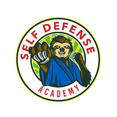 Ilustración de Badge icon style illustration of a sloth in karate stance fighting punching viewed from front set inside circle with words Self Defense Academy on isolated background. - Imagen libre de derechos