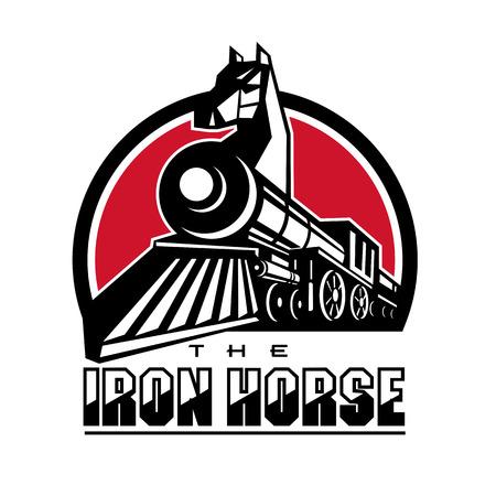 Illustration pour Retro style illustration of the Iron Horse showing head of horse on steam train. - image libre de droit