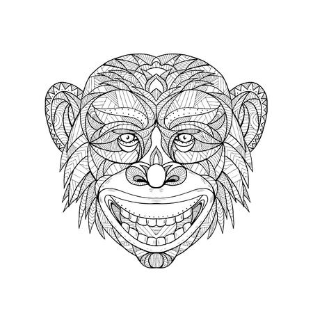 Illustration for Mandala illustration of a primate head of monkey. - Royalty Free Image