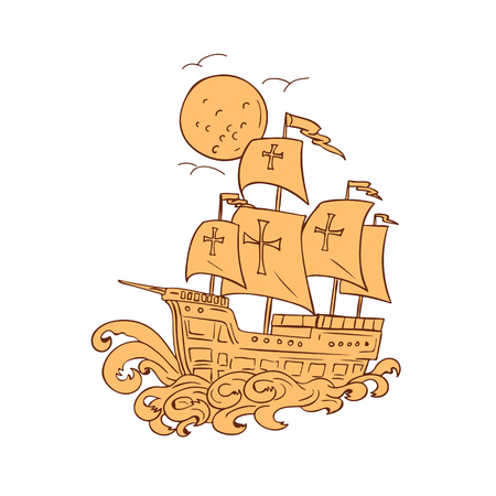 Ilustración de Drawing sketch style illustration of a caravel. - Imagen libre de derechos