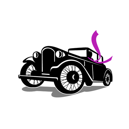 Illustration for Retro style illustration of vintage coupe car automobile with driver wearing flowing scarf. Retro viewed at a low angle on white background. - Royalty Free Image