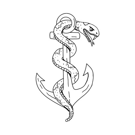 Illustration pour Drawing sketch style illustration of rattlesnake coiling around anchor on isolated background done in black and white. - image libre de droit