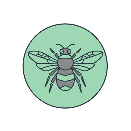 Ilustración de Mono line illustration of a bumble bee set inside circle on isolated background. - Imagen libre de derechos