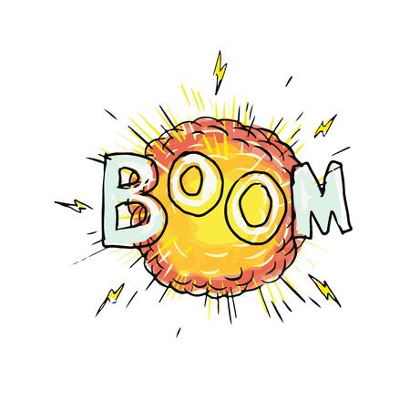Ilustración de Cartoon style illustration of an explosion with words Boom set on isolated background. - Imagen libre de derechos