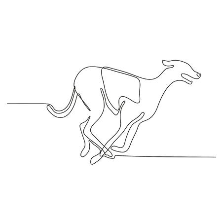 Ilustración de Continuous line drawing illustration of a greyhound dog racing viewed from side done in sketch or doodle style.  - Imagen libre de derechos