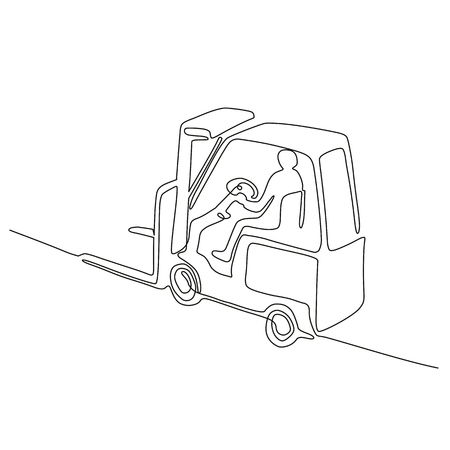 Illustration for Continuous line drawing illustration of a warehouse operator driver driving a forklift truck viewed from high angle done in sketch or doodle style.  - Royalty Free Image
