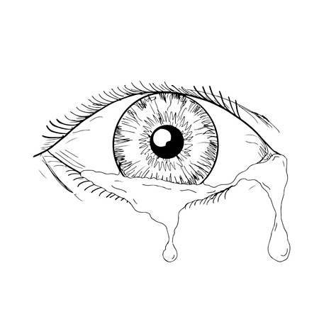 Ilustración de Drawing sketch style illustration of a human eye crying and blinking with tears flowing isolated on white background. - Imagen libre de derechos