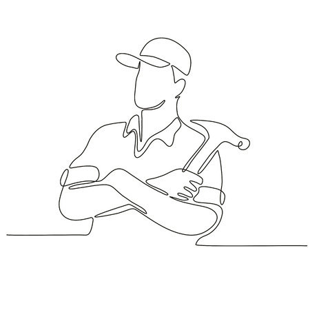 Ilustración de Continuous line drawing illustration of a builder, carpenter or construction worker arms crossed with hammer done in sketch or doodle style.  - Imagen libre de derechos