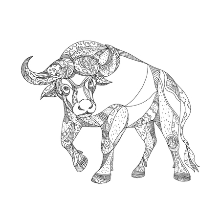 Ilustración de Doodle art illustration of African buffalo,Cape buffalo or Syncerus caffer, a large African bovine charging viewed from front done in black and white. - Imagen libre de derechos