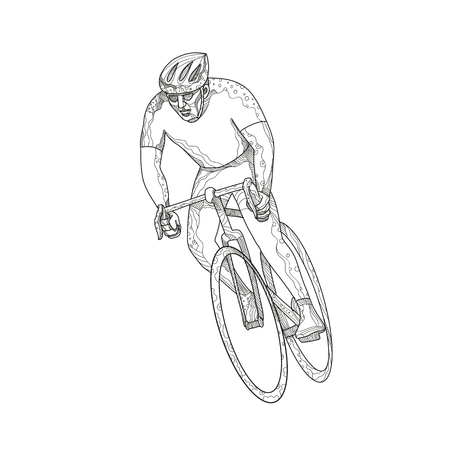 Illustrazione per Doodle art illustration of an athlete riding a bike image - Immagini Royalty Free