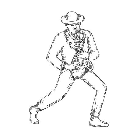 Ilustración de Jazz player image outline - Imagen libre de derechos