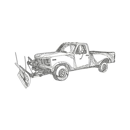 Ilustración de Doodle art illustration of a snow plow or snowplow truck with snow plow blade fitted done in mandala style. - Imagen libre de derechos