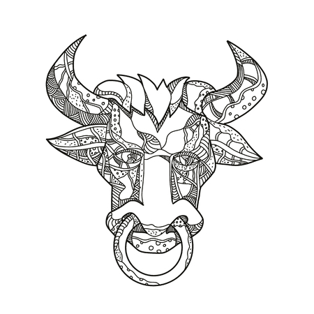 Ilustración de Doodle art illustration of head of Pinzgauer bull or cow, a breeed of  domestic cattle from Pinzgau region, Austria front view in black and white done in mandala style. - Imagen libre de derechos