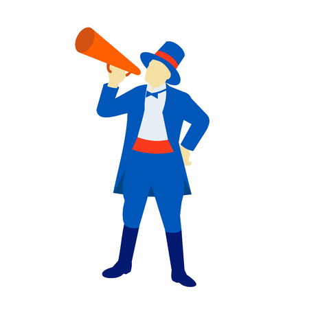 Ilustración de Retro style illustration of a ringmaster, ringleader,master of ceremonies, a significant performer in a circus, shouting, holding a bullhorn on isolated background. - Imagen libre de derechos