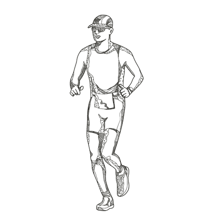 Ilustración de Doodle art illustration of a triathlete,marathon,duathlon, trail runner running on isolated background done in mandala style. - Imagen libre de derechos