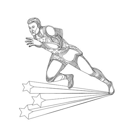 Ilustración de Doodle art illustration of of track and field athlete running sprinting in black and white done in mandala style. - Imagen libre de derechos