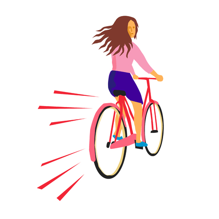 Illustrazione per Retro style illustration of a girl riding a vintage cruiser bicycle looking back on isolated background. - Immagini Royalty Free