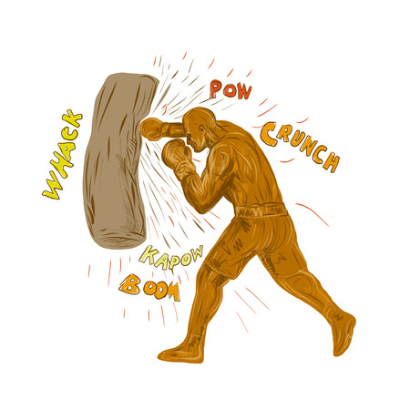 Ilustración de Drawing sketch style illustration of a boxer boxing punching hitting the punching bag with words pow, whack, kapow, boom, crunch on isolated background.  - Imagen libre de derechos