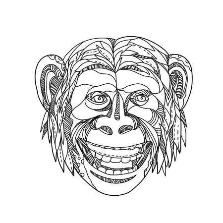 Illustration for Doodle art illustration of head of a humanzee, apeman caveman or Neanderthal, a chimpanzee/human hybrid or an early human with traits of apes and humans, smiling done in black and white mandala style. - Royalty Free Image