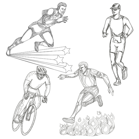 Illustrazione per A collection of doodle art illustrations that includes the following sports; track and field runner, marathon or triathlete runner, obstacle course race and bicycle or cycling done in black and white. - Immagini Royalty Free