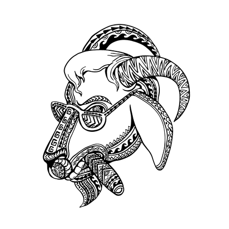 Illustration pour Tribal tattoo style illustration of head of a goat smoking cigar and wearing sunglasses with bighorn done inblack and white. - image libre de droit
